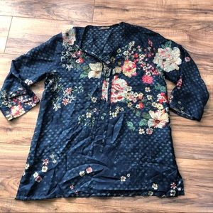 Johnny Was 100% Silk Blue Floral Tunic Blouse L